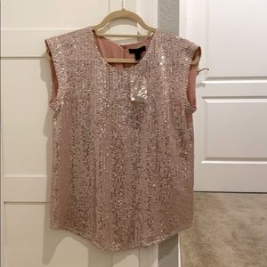 JCrew sequin top. Pink blush. NWT. Size 2.